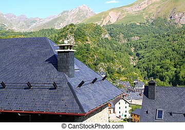 Panticosa village high view slate roofs Pyrenees Huesca ...
