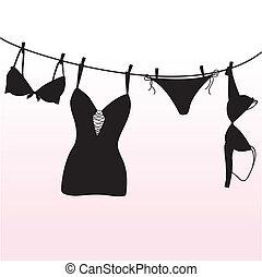 pantie, bustehouder, en, lingerie