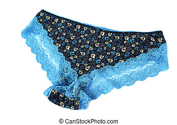 Panties - Blue panties isolated on white background.