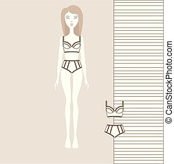 Panties, bra, underwear, cotton underwear a set of lingerie dressed for a girl.