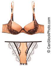 panties, mulher, soutien lingerie, ouro