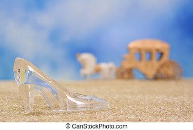 pantoffel, glas, strand