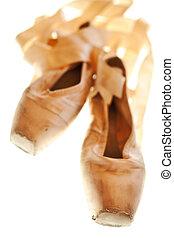 pantofole, balletto, well-worn, condizione