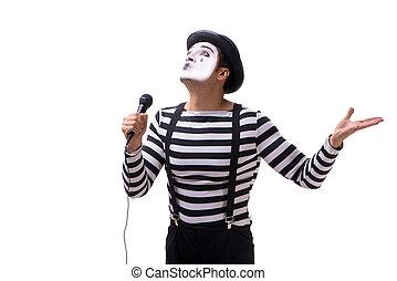 pantomime, singende, freigestellt, weiß, hintergrund