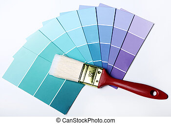 Pantone color palette and brush - Close up of pantone color...