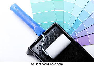 Pantone color palette and roller - Close up of pantone color...