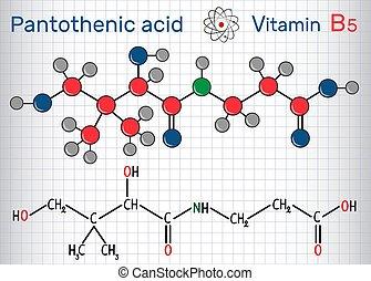 pantothenic, ), (, molekül, vitamin, chemische , papier, model., b5, pantothenate, formel, säure, käfig, blatt, strukturell