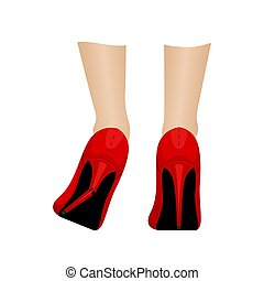 pantoufles, girl, vecteur, elle, repair., heel., rouges, ...