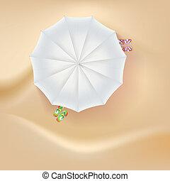 pantoufles, plage, soleil, sable, parapluie, arrière-plan.