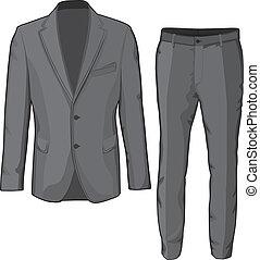 pants., chamarra, vector, traje, macho, ropa