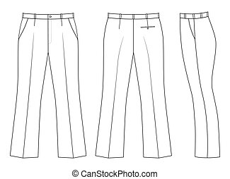 Pants - Outline black-white pants vector illustration...