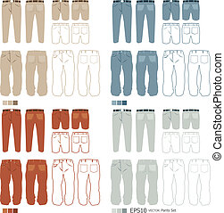 Pants fashion set vector
