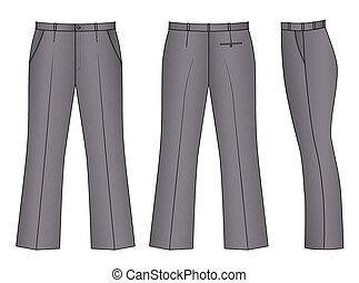 Pants - Outline black-white pants vector illustration...