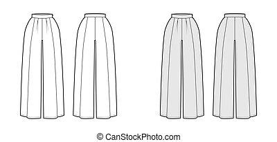 Pants skirt culotte gaucho technical fashion illustration ...