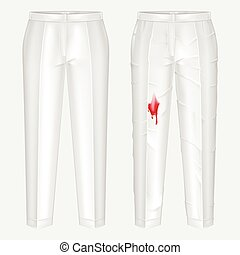 Pants stain remover experiment vector concept - Pare of...