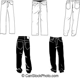 Pants template/mockup for designs in vector format. Colors are easily modified, shadows can be hidden, each pant on a separate layer with a sublayer where you may place your own design.