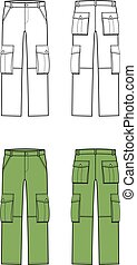 Pants - Vector illustration of pants. Front and back....