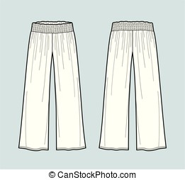Pants - Vector illustration of flared draped pants. Front...