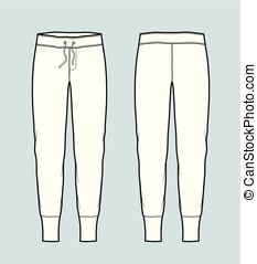 Pants - Vector illustration of jogger pants. Front and back