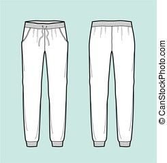 Pants - Vector illustration of joggers pants. Front and back