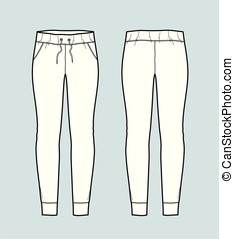 Pants - Vector illustration of skinny jogger pants. Front...