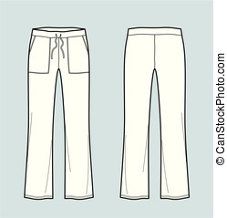 Pants - Vector illustration of sport pants. Front and back