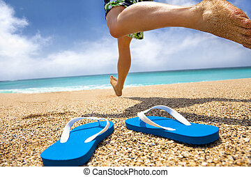 pantufla, corriente, playa, hombre