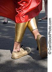panty-hose, dorado, piernas