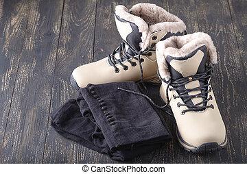 pantyhose., invierno, piso, woodn, tibio, botas, hembra, ...