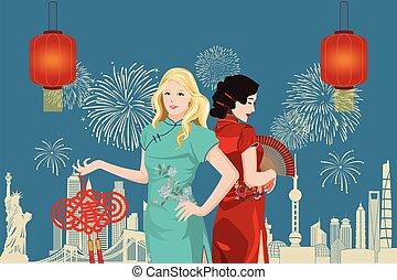 pao), lunare, asiatico, festeggiare, abbigliamento, (qi, anno, caucasico, giovane, tradizionale, nuovo, donne, cinese