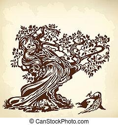paon, arbre, brun