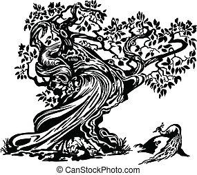 paon, arbre