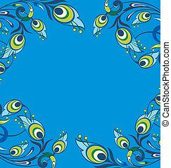 paon bleu, plumes, fond
