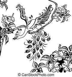 paon, branche arbre