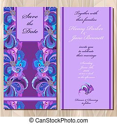 paon, card., printable, invitation, plumes, illustration, vecteur, mariage
