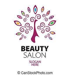 paon, logo, pour, salon beauté