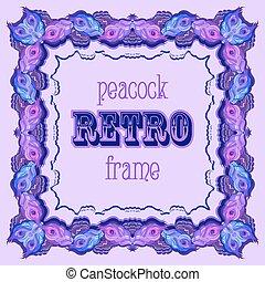 paon, peint, cadre, plumes, étiquette, retro, violet