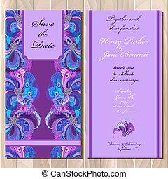 paon, plumes, invitation mariage, card., printable, vecteur,...