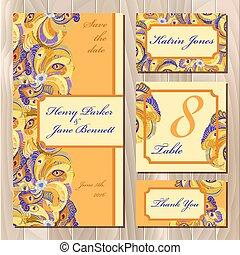 paon, plumes, mariage, carte, set., printable, vecteur,...