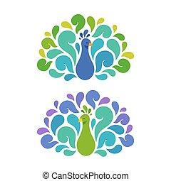 paons, deux, illustration