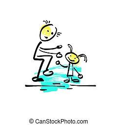 papá, bosquejo, el suyo, hija, figura, garabato, palo, ...