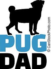 papá, doguillo, silueta, perro