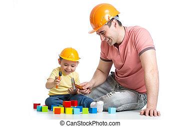 papá, edificio, juego, el suyo, bloques, niño