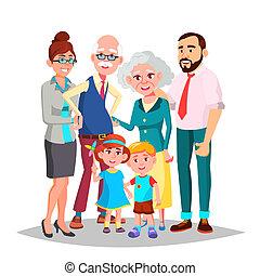 papá, familia , abuelos, aislado, ilustración, decoración, ...