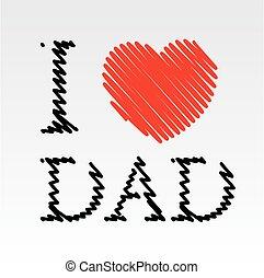 papá, garabatear, efecto, tarjeta