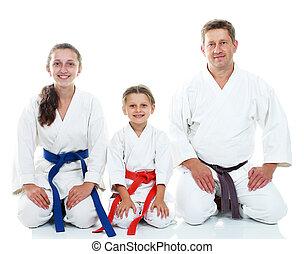 papá, karate, postura, hijas