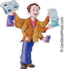 papá, multitarea, ilustración