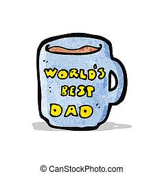 papá, mundos, jarra, mejor