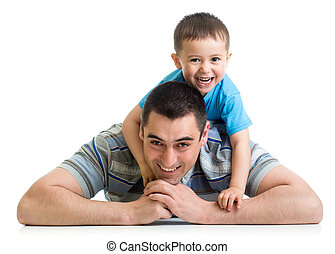 papá, niño, el suyo, piso, niño, acostado, feliz