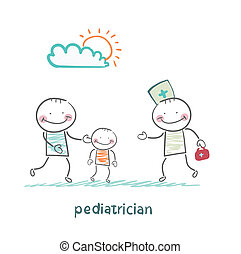 papá, niño, toma, enfermo, pediatra